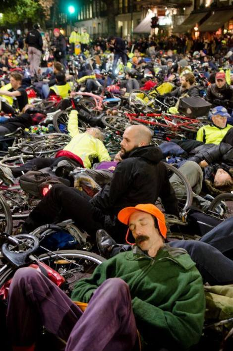 Mass Die-in Protesting the death of 14 cyclists just in London's roads in November 2013